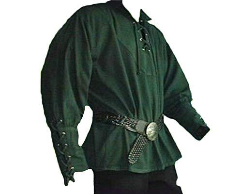 Herren Lang Mittelalter Hemd Schnürhemd Stehkragen Gothic Steampunk Viktorianisch T-Shirt Grün L
