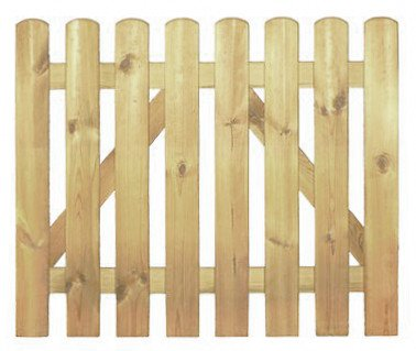 StaketenTür 'Premium' 100x85/85 cm - gerade – kdi / V2A Edelstahl Schrauben verschraubt - aus getrocknetem Holz glatt gehobelt – gerade Ausführung - kesseldruckimprägniert
