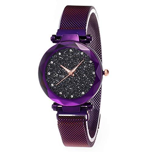 he mesh Band Armband Sternenhimmel Frauen Uhr Strass Quarz Armbanduhr für Frauen männer Lila ()