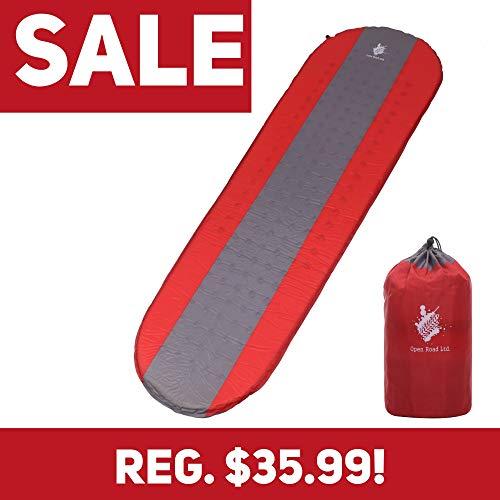 Open Road selbstaufblasende Schlafmatte für Camping und Rucksackreisen, leichte Rucksackreisen, Camping Matratze, Luftmatratze, rot -