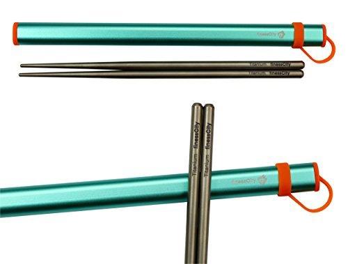 Palillos de titanio extra fuertes Ultra ligero profesional (Ti), palillos viene con caja de aluminio libre de calidad exclusiva (Azul)