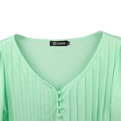 SUNNOW Damen Langarmshirt Neue Mode Vier Jahreszeiten Tops V-Ausschnitt Einfarbig Aufdruck Spitze T-Shirt Locker Faltenbluse Hellgrün-1