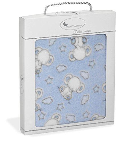 Manta Capazo, minicuna o Coche Extrasuave Elefantes Azul - 110 x 80...
