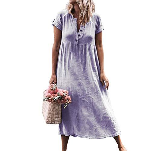 Juleya Frauen Leinenkleider V-Ausschnitt Maxikleid Lose Baggy Kaftan Stretchy Kurzarm Strand Sommer Boho Tunika Bluse Kleider -