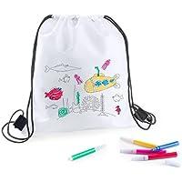 DISOK - Mochila Petate para Colorear + 5 Rotuladores por Cada Mochila! Regalos Originales Cumpleaños, Comuniones, Colegios, Niños, Infantiles