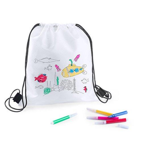 DISOK,zaino a sacca da colorare + 5pennarelli per ogni zaino! Regali originali per compleanni, comunioni, per la scuola, per bambini.