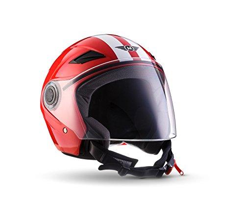 MOTO U52 Racing Red · Jet-Helm Bobber Helmet Vespa-Helm Cruiser Motorrad-Helm Retro Roller-Helm Chopper Vintage Scooter-Helm Biker Mofa Pilot · ECE zertifiziert · mit Visier · inkl. Stofftragetasche · Rot · L (59-60cm)