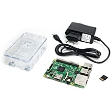 Raspberry Pi 3 Model B Starter Kit (Raspberry Pi 3 Model B - Made in EU, microSDHC card 8GB Class 10, 5V 2.0A power plug, transparent OneNineDesign case)
