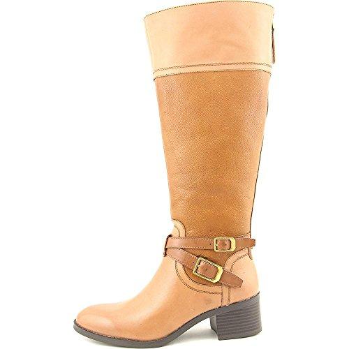 Franco Sarto Lapis Wide Calf Damen Rund Leder Mode-Knie hoch Stiefel Brandy