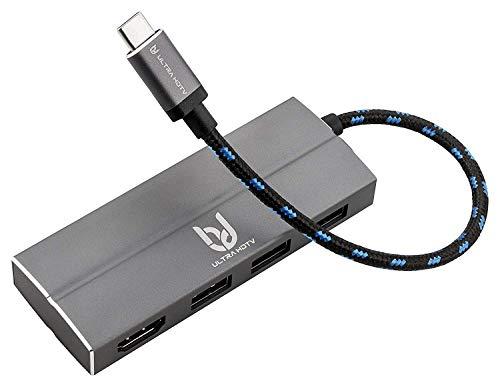 tifunktions-Hub, Edler Typ-C zu HDMI/USB Hub, 1x HDMI Buchse, 3X USB 3.0, grau ()
