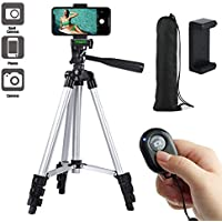 "Paladinz Phone Tripod 42"" Inch (106 cm) Lightweight Aluminum iPhone Tripod Stand for Camera iPhone Samsung and Most Phones with Carrying Bag Universal Phone Mount Wireless Bluetooth Remote Control"