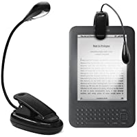 "GadgetBoy Clip-on LED Reading Light Lamp Flexible Arm for All Amazon Kindles, 6"", Touch, Paperwhite, Reading Books, eReaders, E-reader, Tablet, iPad, Kobo, Laptops, Map, Music Stands etc (Black)"