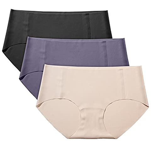 Lapasa 3 PACK Women's Seamless Briefs - INVISIBLE PANTY LINES - Cotton Crotch Low Rise Raw Cut Elastic Free Knickers Multicolor, M / UK 12 (Waist