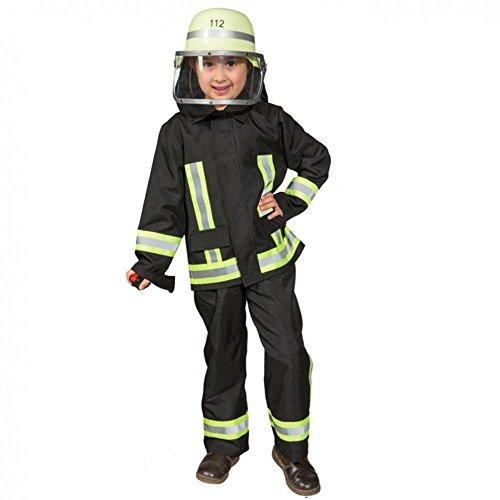 feuerwehrmann kostuem kinder Kostüm Feuerwehr Junge Uniform Feuerwehrmann Anzug Fasching (104, Schwarz)