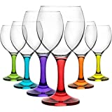 Copas de vino de colores de 210ml. Juego de 6en caja de regalo.