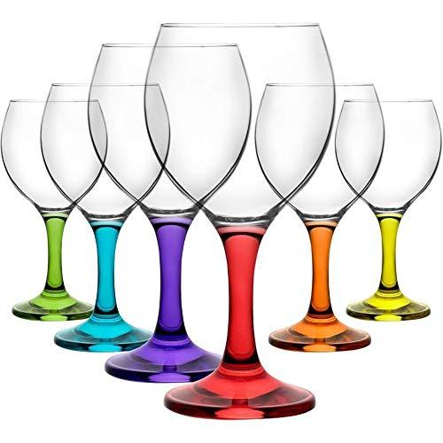 Queensway corall - set di 6 calici da vino colorati in vetro misket da 210cc/ml in confezione regalo