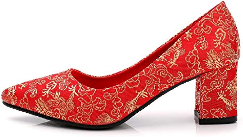 HOESCZS Scarpe da Sposa Pizzo Cinese Ricamato di Spessore con Scarpe con Tacco Alto E Punta A Punta Scarpe da... | Prezzo speciale  | Gentiluomo/Signora Scarpa
