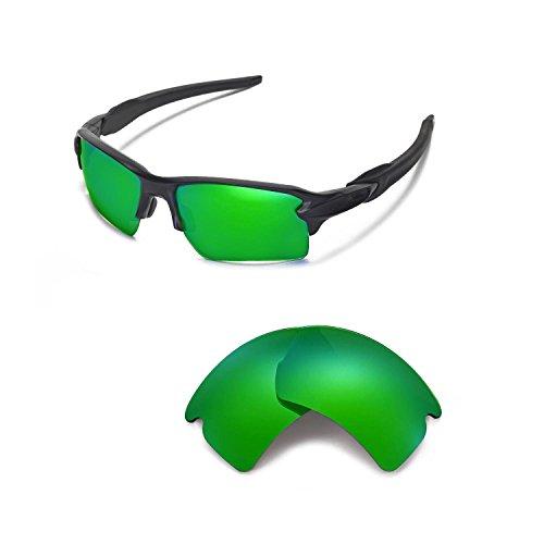 Walleva Ersatzgläser für Oakley Flak 2.0 XL Sonnenbrille - Mehrere Optionen (Emerald Mirror Coated - Polarisiert)