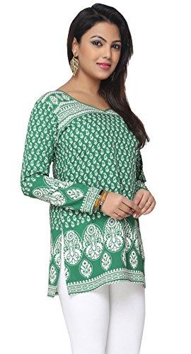 Maple Clothing Indische Lange Kurti Spitzen Tunika Druckte Frauen Indien Kleid Grün