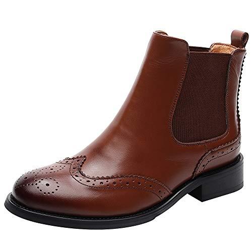 rismart Damen Brogues Wingtip Kurzschaft Schlüpfen Stilvoll Leder Chelsea Stiefel SN02052(Braun,36.5 EU) (Schuhe Cowboy-wingtip)