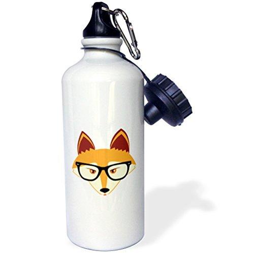 Cute Hipster Rot Fox mit Brille Sport Wasser Flasche Edelstahl-Flasche für Frauen Herren Kinder 400ml