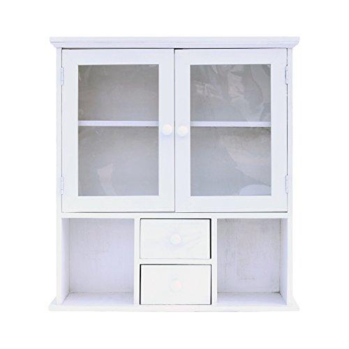 Pequeña puerta de madera diseño de plexiglás con estilo vintage de color blanco (Cod. 0-1711)