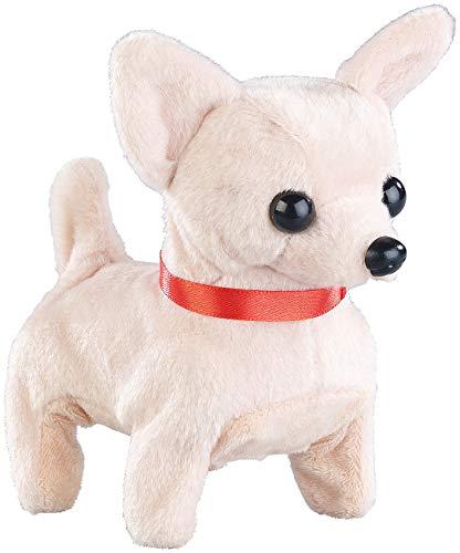 Playtastic NX-8204 Kinder Niedlicher Plüsch-Chihuahua, läuft und bellt, batteriebetrieben (Spielzeug Hund), weiß (Spielzeug Hund Kinder Für)