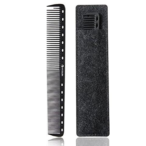 xnicx 605 lisoir peigne,noir antistatique carbone peigne de coupe professional styling peigne, peigne de coupe de cheveux salon, coiffeur coiffure peigne de barbier