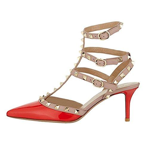 EKS Damen Stilett Spikes Niets Straps Sandalen Pumps Patent Orange 38 EU - Glitter Patent Schuhe