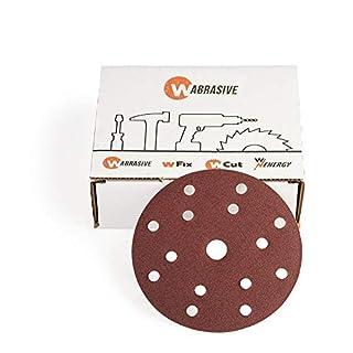 Schleifpapier 150 mm klett Holz | 50 Stück | Schleifscheiben Körnung 150 | Geeignet für Deckenschleifer, Trockenbauschleifer und Tellerschleifer
