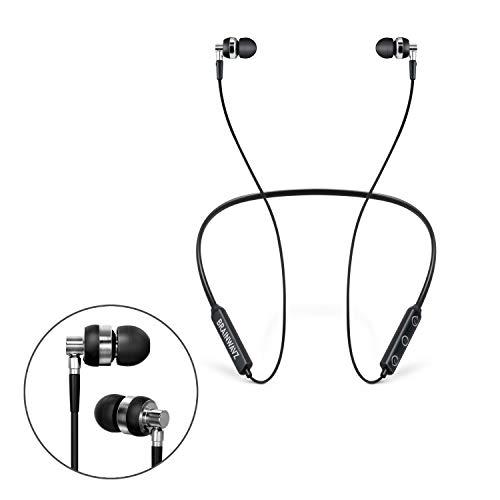 Brainwavz M2 Écouteurs Intra-Auriculaires sans Fil Style Tour de Cou, écouteurs pour Voix Claire et Basses Profondes, 10 Heures de Lecture Bluetooth, Charge Rapide, écouteurs ergonomiques (Noir)