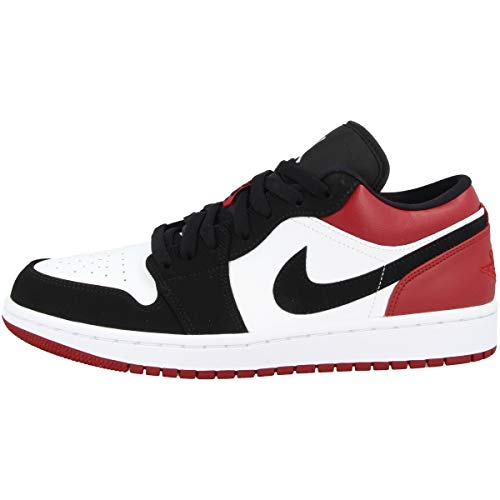Nike Herren AIR Jordan 1 Low Basketballschuhe, Weiß (WhiteBlackGym Red 116), 45 EU