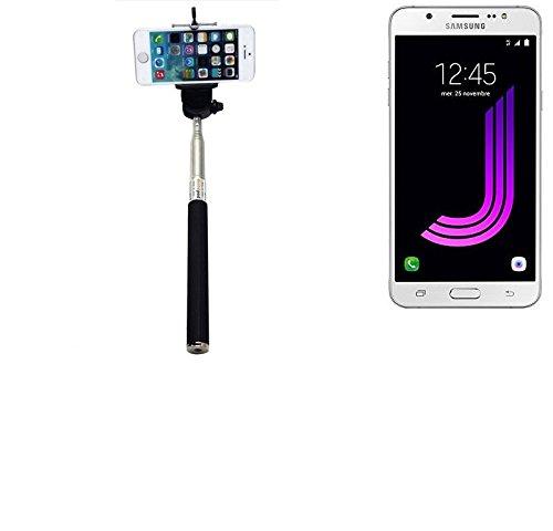 K-S-Trade® per Samsung Galaxy J7 (2016) Bastone Selfie Selfiestick Asta Autoritratto telescopica Fotografico Monopiede Selfie Stick per Samsung Galaxy J7 (2016) Nero