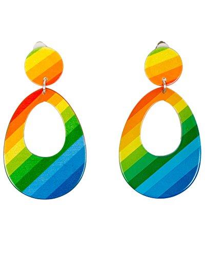 Smiffys Damen Neon Tränen Ohrringe, One Size, Mehrfarbig, 21175 (Der Schmuck 80er Jahre)