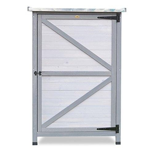 Habau Flachdach mit Zinkblech Gartenschrank, Weiß/Grau
