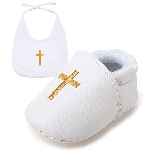 DELEBAO Baby Taufe Schuhe Babyschuhe Taufschuhe Lauflernschuhe Kinderschuhe Weiß Weiche Sohle Leder PU Kleinkind (Schuhe-1&Lätzchen2,6-9 Monate)