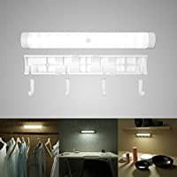 Motion Sensor Light, MANLEHOM LED Night Light with Separable Hook Battery Operated Nightlight Wireless Outdoor Flashlight for Sticking to Cabinet, Closet, Hallway, Bathroom, Basement in White