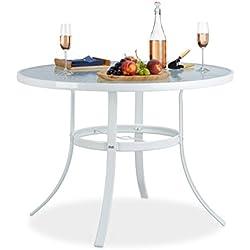 Relaxdays Table de Jardin Ronde Verre STRUK Trou Parasol Table de Bistrot 102cm Balcon Jardin 4 Places Anti-Pluie Blanc