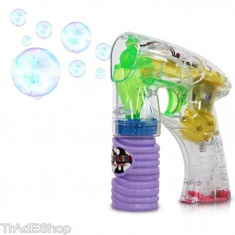 TrAdE shop Traesio- Pistola SPARA Bolle di Sapone con LUCI Giocattoli per Bambini Gadget per Feste
