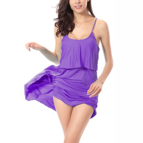 JIAJIA - Copricostume - Tunica - Basic - Senza maniche  -  donna Purple