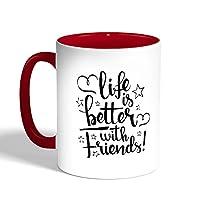 كوب قهوة مطبوع لون احمر بطباعة عبارة «life's better with friends»