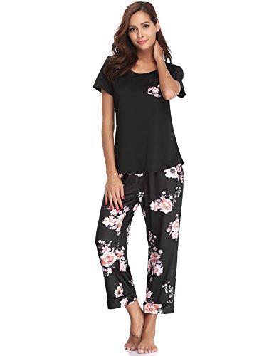 Haijiate Damen Sommer Rundhals Leopard Pyjama Set, Zweiteiliger Kurzarm Schlafanzug Nachtwäsche Set Schwarz XXL
