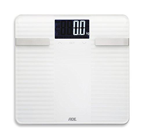 ADE Báscula de análisis corporal Linda Superficie de pesaje de 6 mm de grosor, vidrio de seguridad reforzado, con superficie antideslizante, análisis de grasa corporal, agua corporal, masa muscular a los incrementos más cercanos de 0,1%, determinar e...