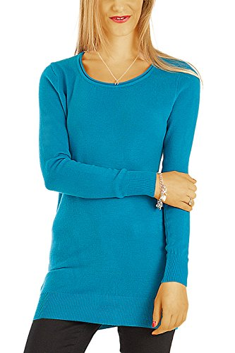 Bestyledberlin Damen Kleider, Pulloverkleid, Langarm Strickkleider, Langes Pullover Oberteil t64z türkis S/M