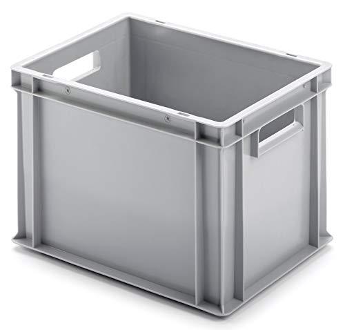 Euro-Stapelbox EB-428, 400x300x280 mm (LxBxH), verstärkter Rippenboden, grau ähnl. RAL7001, aus Polypropylen, lebensmittelecht, 2 Handgriffe, ca. 25 Liter Vol.