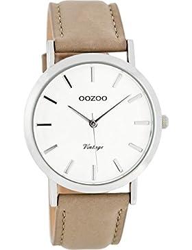 Oozoo Vintage Damenuhr Lederband 38 MM Weiss/Taupe C8111