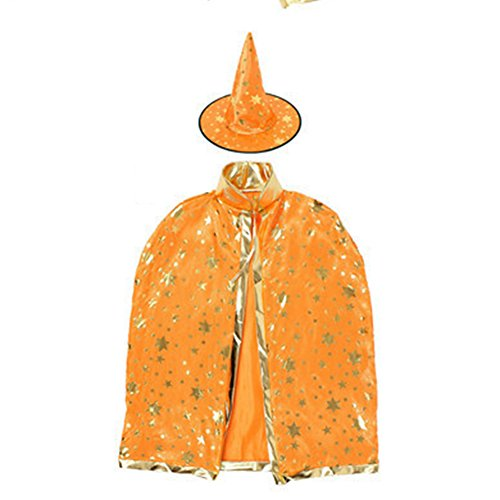 Huhuswwbin Vergoldung Stern Umhang Party Hut Hexe Halloween Fancy Party Rep - Schwarz Orange (Halloween-nägel Orange Und Schwarze)