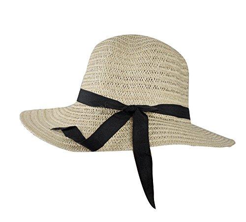 Teenager Mädchen Junge Damen Strohut Hut Kinder Sonnenhut Sommerhut Schlapphut, Sonnenschutz, Sonnenschild, aus Papierstroh, Kopfumfang ca.55 bis 58cm