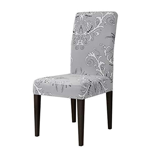 Parsons Stuhl Stoff Stuhl (Subrtex Stuhlhussen für Esszimmerstuhl, mit Blättermuster, dehnbar, maschinenwaschbar, abnehmbar, rutschfest, Textil, Grey Pattern, 4 Pcs)