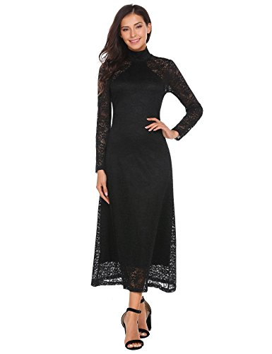 Zeagoo Women's Elegant High Neck Long Sleeve Retro Floral Lace Party Maxi Dress